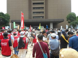 広島市役所での出発式