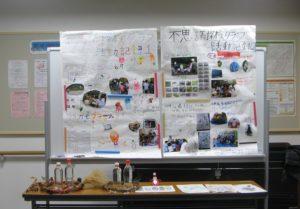 会場の外に展示した活動記録の壁新聞と作品
